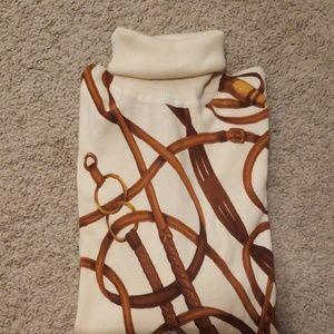 Ralph Lauren Equestrian Print Turtleneck Sweater